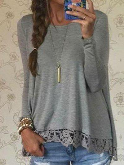 Lace Hem Long Sleeve TeeWOMEN<br><br>Size: L; Color: GRAY; Material: Polyester; Shirt Length: Regular; Sleeve Length: Full; Collar: Round Neck; Style: Fashion; Embellishment: Lace; Pattern Type: Solid Color; Season: Fall; Weight: 0.2400kg; Package Contents: 1 x Tee;