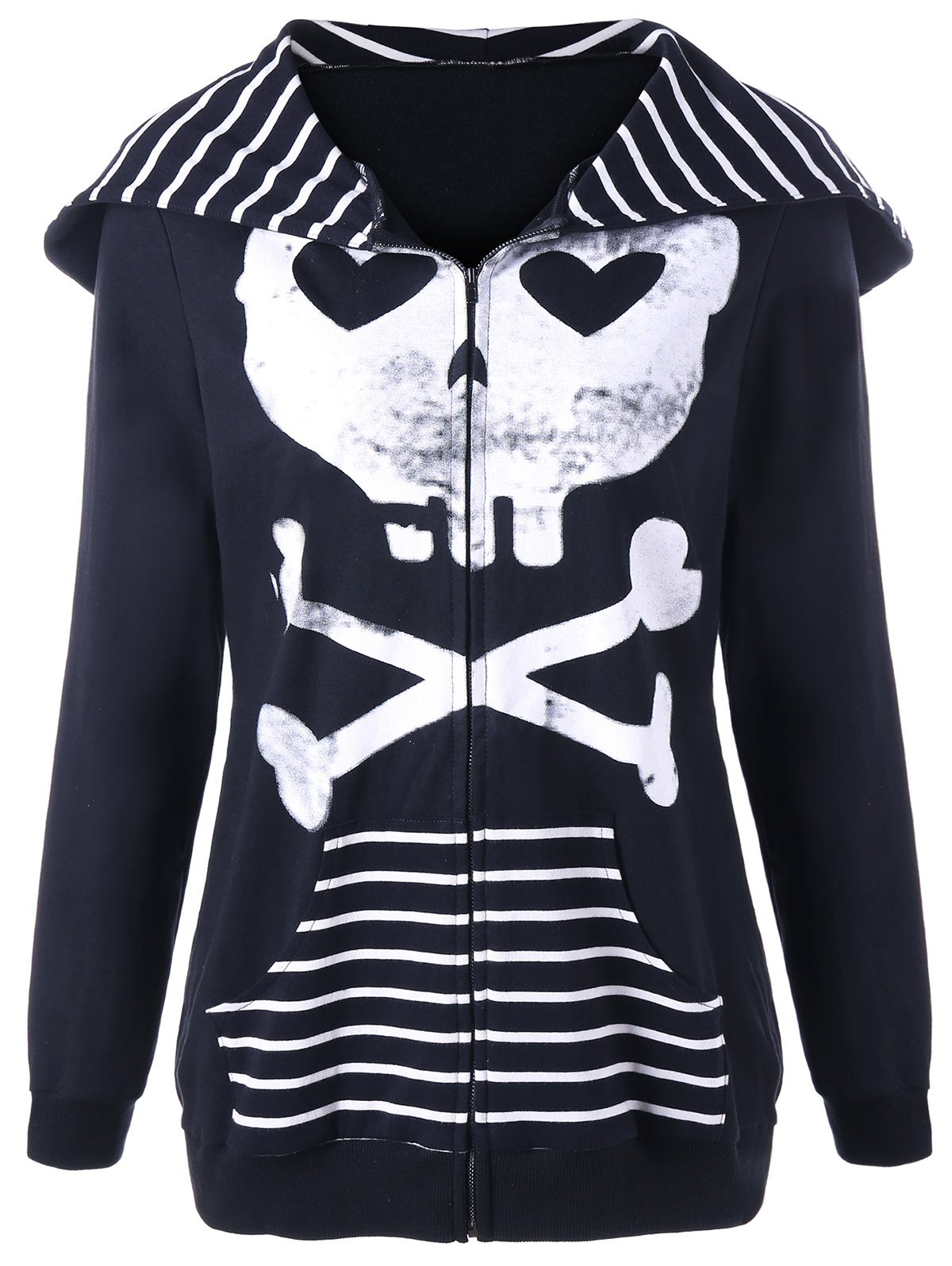 Outfits Halloween Skull Hooded Striped Panel Jacket