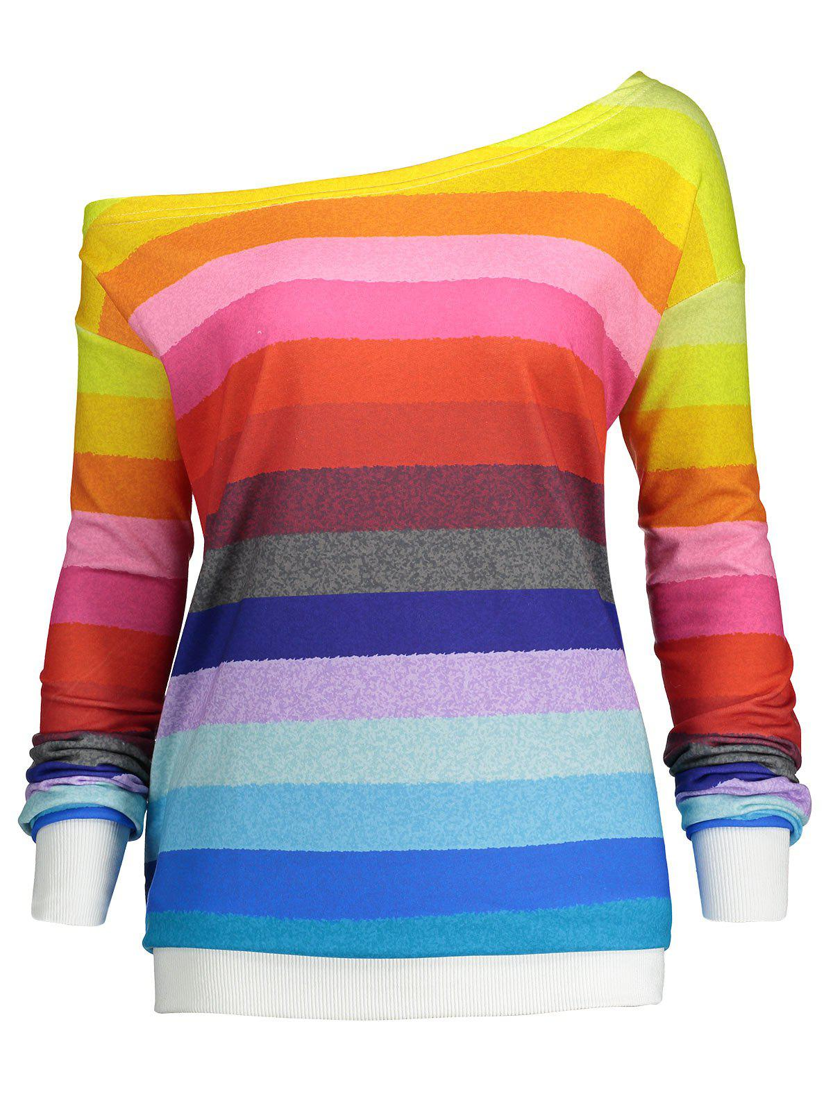 Rainbow Print Plus Size One Shoulder SweatshirtWOMEN<br><br>Size: 2XL; Color: RAINBOW; Material: Polyester,Spandex; Shirt Length: Regular; Sleeve Length: Full; Style: Fashion; Pattern Style: Others; Season: Fall,Spring; Weight: 0.4200kg; Package Contents: 1 x Sweatshirt;