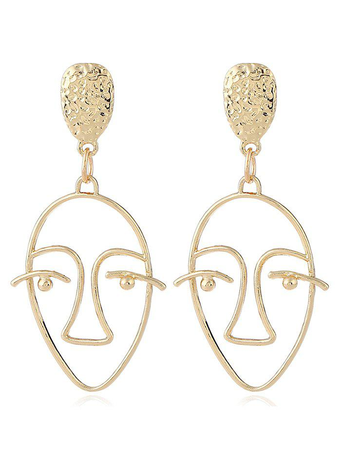 Face Geometric Hollow Design Stud EarringsJEWELRY<br><br>Color: GOLDEN; Earring Type: Stud Earrings; Gender: For Girls,For Women; Metal Type: Alloy; Style: Gothic; Shape/Pattern: Face; Length: 6.2cm; Weight: 0.0120kg; Package Contents: 1 x Earring(Pair);