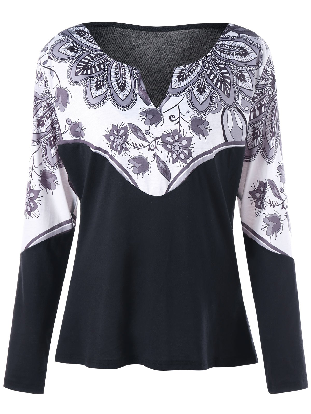 Plus Size Printed Split Neck Long Sleeve TeeWOMEN<br><br>Size: 2XL; Color: WHITE AND BLACK; Material: Polyester,Spandex; Shirt Length: Regular; Sleeve Length: Full; Collar: V-Neck; Style: Fashion; Season: Fall,Spring; Pattern Type: Print; Weight: 0.2360kg; Package Contents: 1 x Tee;