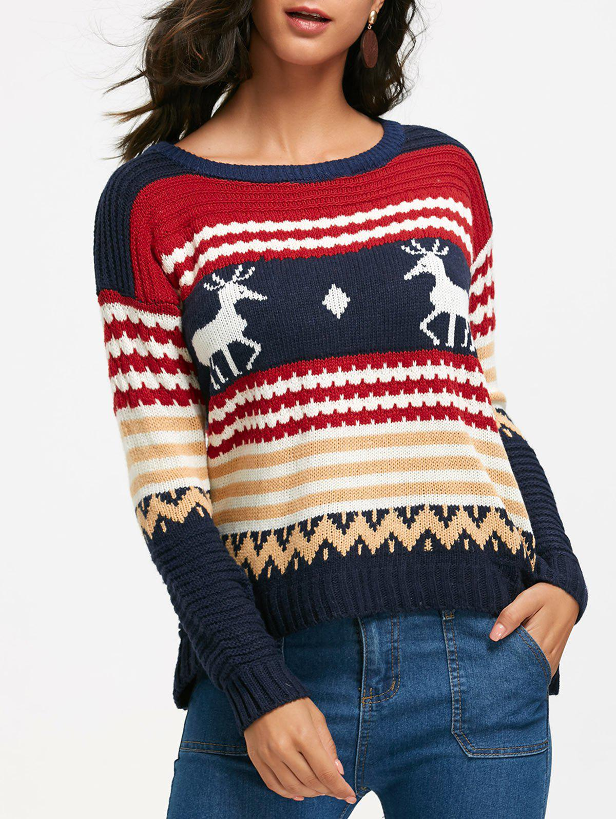 Outfit Deer and Geometric Pattern Drop Shoulder Sweater