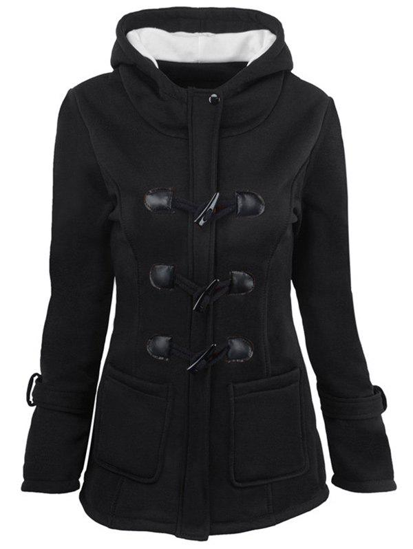 Hooded Duffle Coat with Front PocketsWOMEN<br><br>Size: M; Color: BLACK; Clothes Type: Jackets; Material: Cotton,Wool; Type: Slim; Shirt Length: Long; Sleeve Length: Full; Collar: Hooded; Pattern Type: Others; Embellishment: Pockets; Style: Fashion; Season: Winter; Weight: 0.4000kg; Package Contents: 1 x Coat;