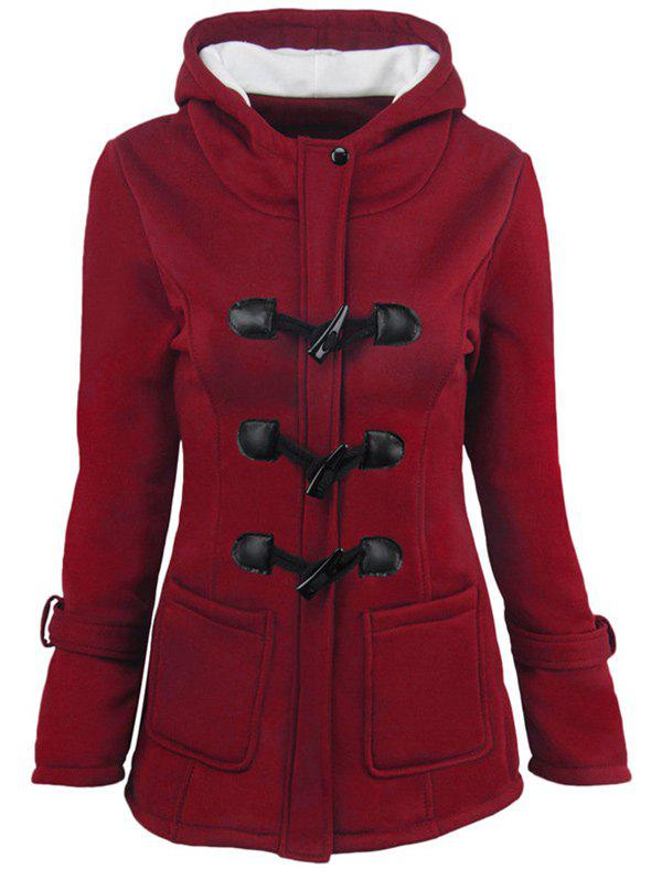 Hooded Duffle Coat with Front PocketsWOMEN<br><br>Size: L; Color: WINE RED; Clothes Type: Jackets; Material: Cotton,Wool; Type: Slim; Shirt Length: Long; Sleeve Length: Full; Collar: Hooded; Pattern Type: Others; Embellishment: Pockets; Style: Fashion; Season: Winter; Weight: 0.4000kg; Package Contents: 1 x Coat;