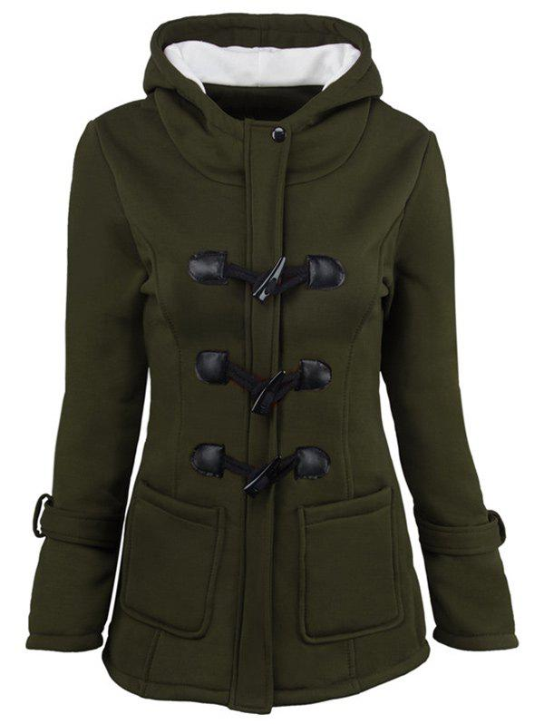 Hooded Duffle Coat with Front PocketsWOMEN<br><br>Size: 2XL; Color: ARMY GREEN; Clothes Type: Jackets; Material: Cotton,Wool; Type: Slim; Shirt Length: Long; Sleeve Length: Full; Collar: Hooded; Pattern Type: Others; Embellishment: Pockets; Style: Fashion; Season: Winter; Weight: 0.4000kg; Package Contents: 1 x Coat;