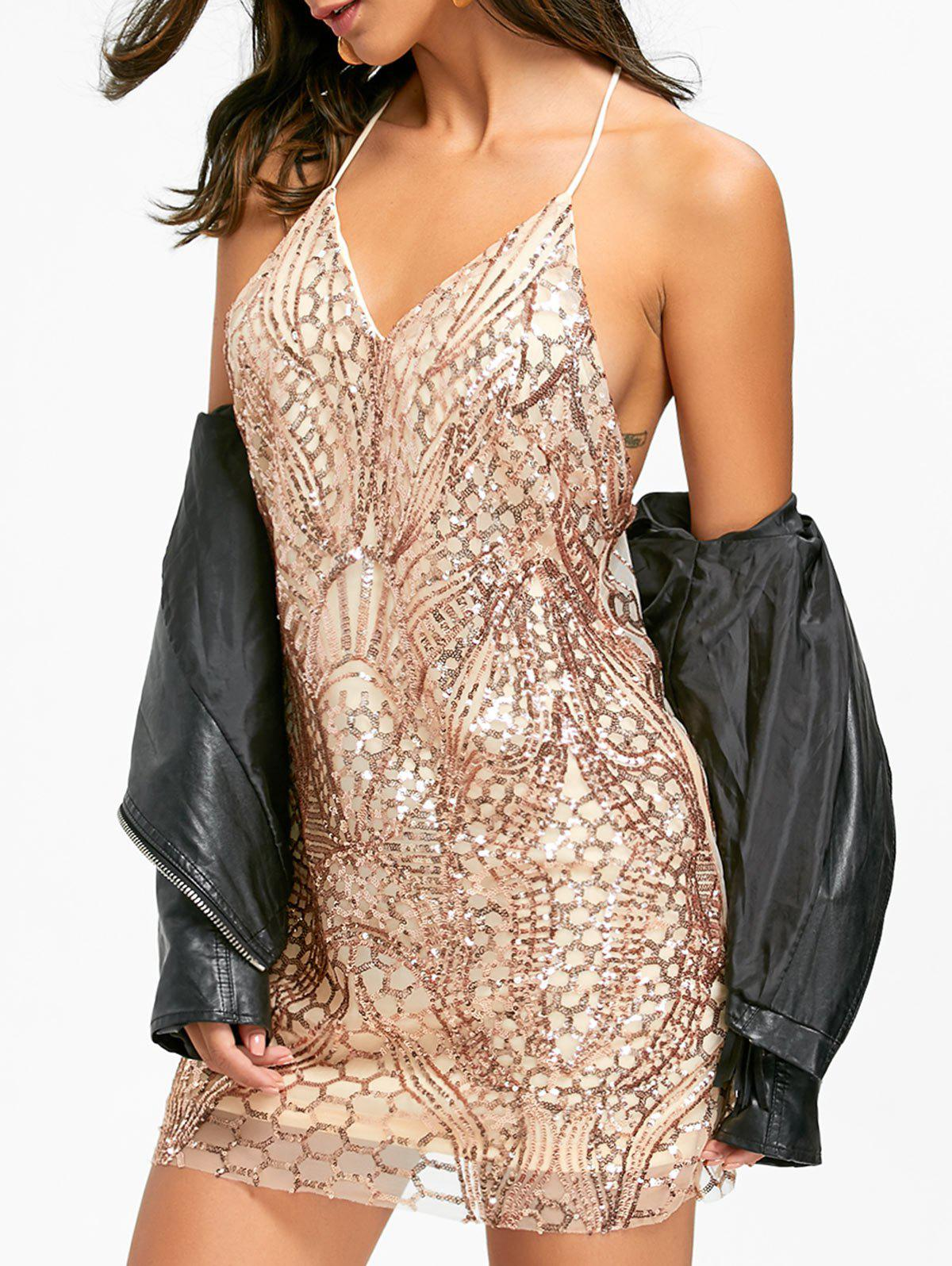 Night Out Backless Sequins Robe Cami