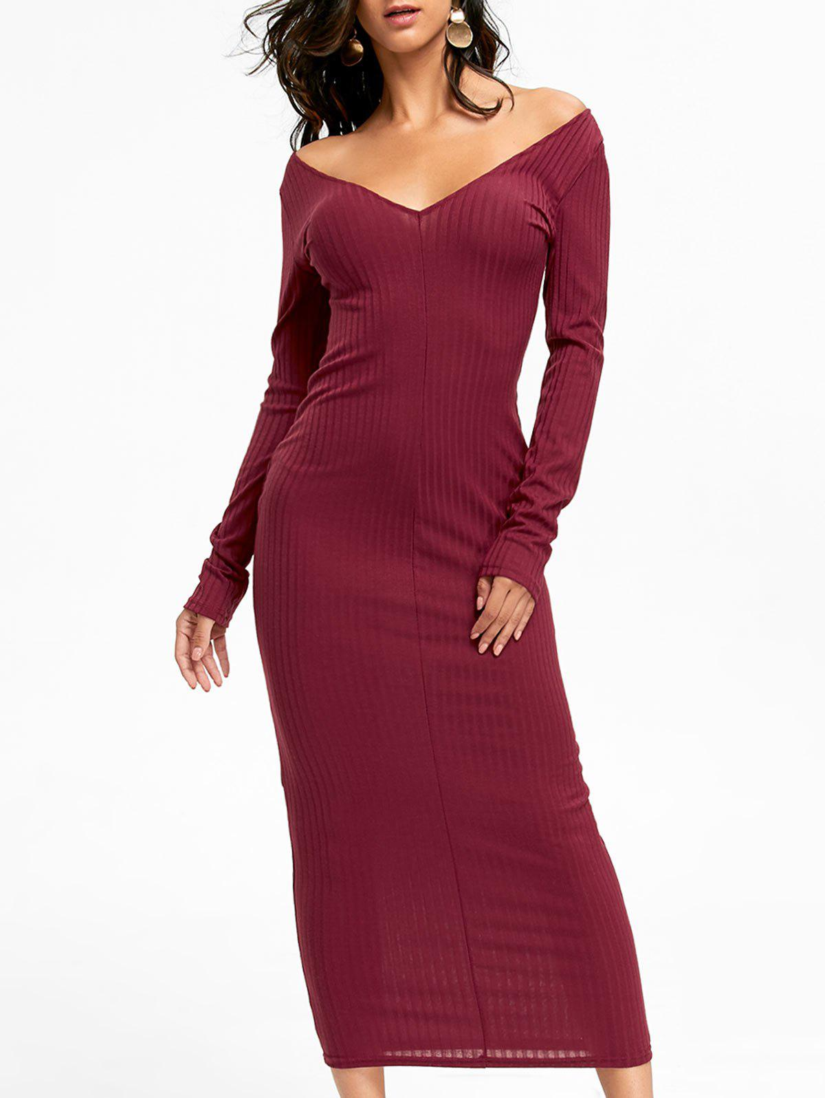 Ribbed Maxi Bodycon Dress 229093502