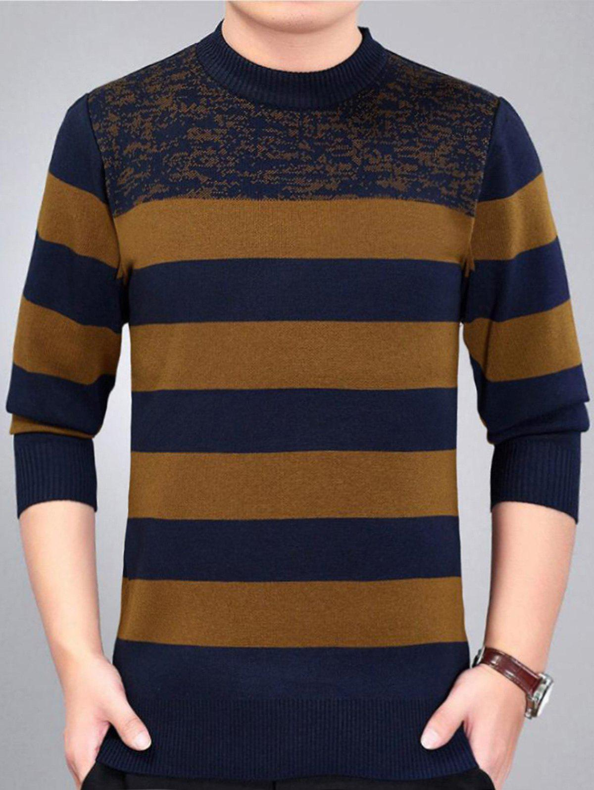 Online Stripe Pattern Crew Neck Sweater