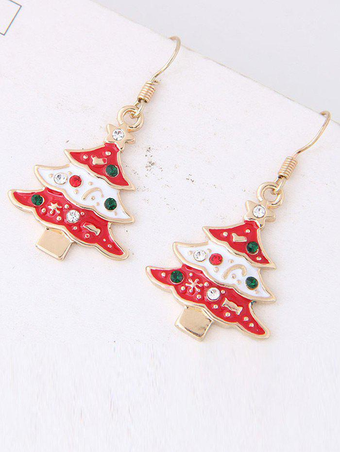 Faux Gem Star Chrismas Tree Design Hook EarringsJEWELRY<br><br>Color: RED; Earring Type: Drop Earrings; Gender: For Girls,For Women; Style: Trendy; Shape/Pattern: Star; Length: 3.8cm; Weight: 0.0120kg; Package Contents: 1 x Earring(Pair);