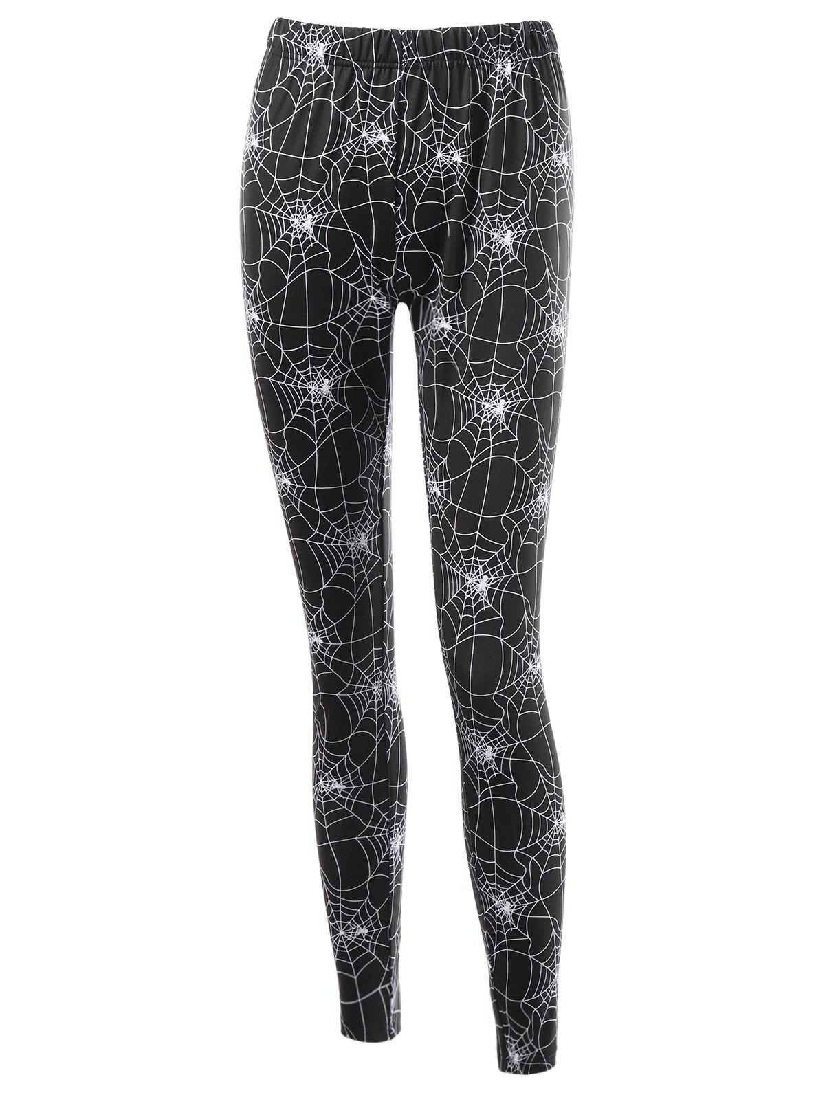 Halloween Spider Web Print Fitted LeggingsWOMEN<br><br>Size: 2XL; Color: BLACK; Style: Casual; Material: Polyester,Spandex; Waist Type: High; Pattern Type: Print; Elasticity: Elastic; Weight: 0.2500kg; Package Contents: 1 x Leggings;