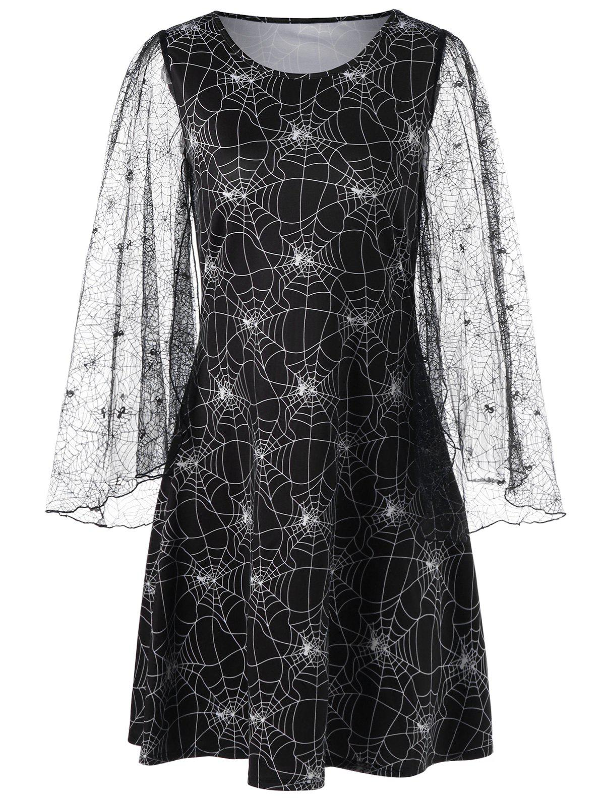 81254c28c5e 51% OFF   2019 Halloween Spider Web Print Lace Sleeve Dress ...