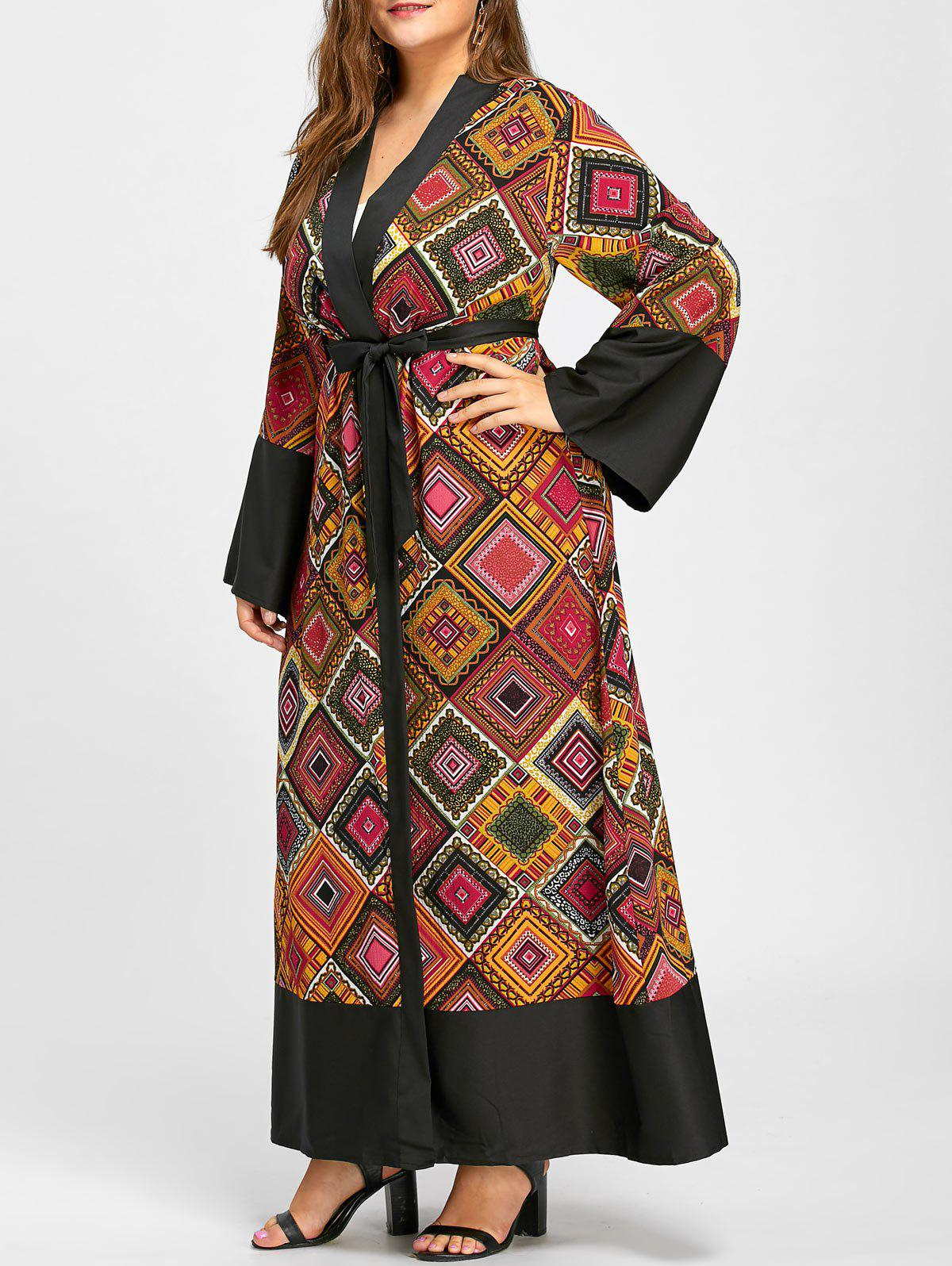 Sale Tribal Argyle Printed Plus Size Maxi Robe Coat