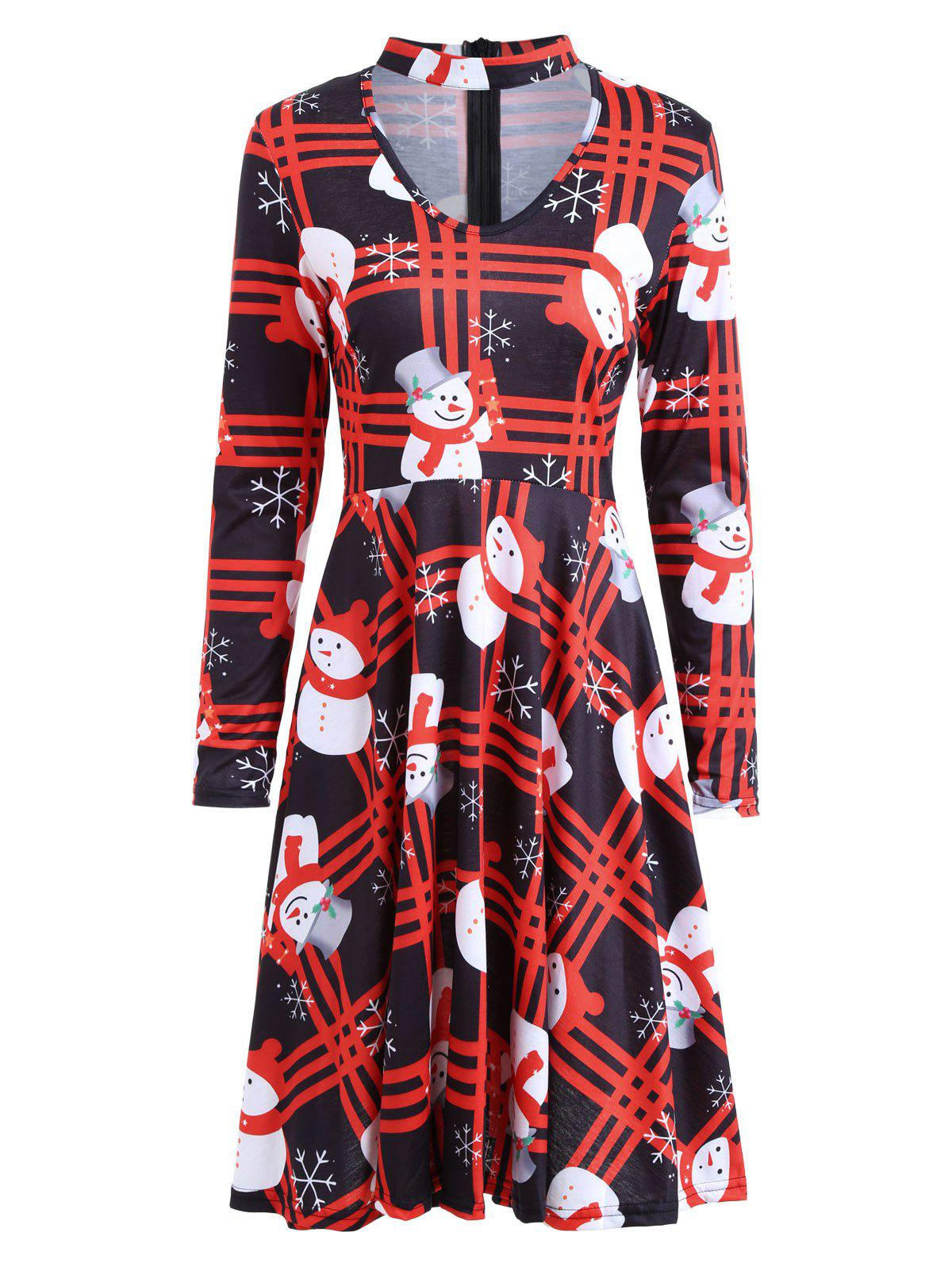 Christmas Snowman Plaid Long Sleeve Choker DressWOMEN<br><br>Size: M; Color: BLACK AND RED; Style: Novelty; Material: Polyester,Spandex; Silhouette: Shift; Dresses Length: Knee-Length; Neckline: Mock Neck; Sleeve Length: Long Sleeves; Pattern Type: Plaid; With Belt: No; Season: Fall,Spring; Weight: 0.3700kg; Package Contents: 1 x Dress;