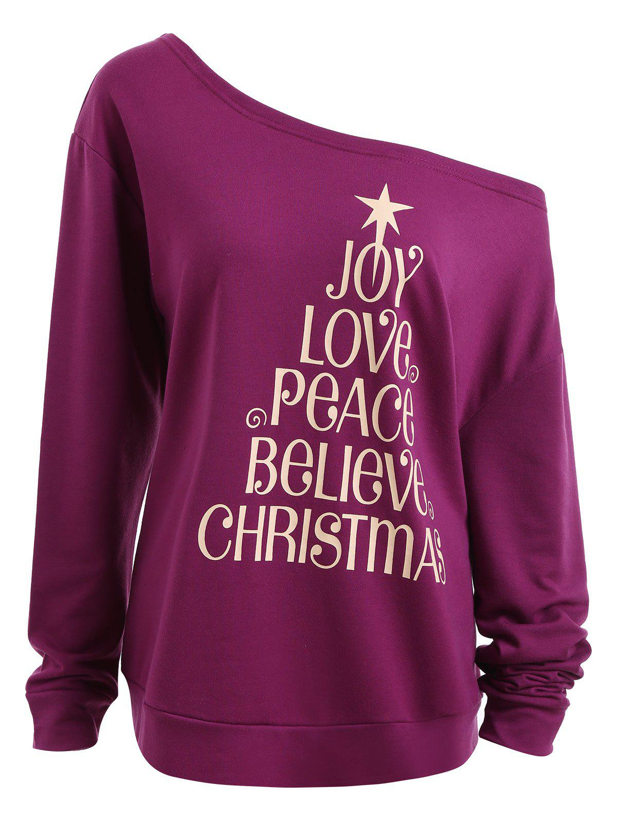 Plus Size Joy Believe Christmas Tree Skew Neck SweatshirtWOMEN<br><br>Size: 5XL; Color: PURPLE; Material: Cotton Blend,Polyester; Shirt Length: Regular; Sleeve Length: Full; Style: Fashion; Pattern Style: Letter; Season: Fall,Winter; Weight: 0.4100kg; Package Contents: 1 x Sweatshirt;