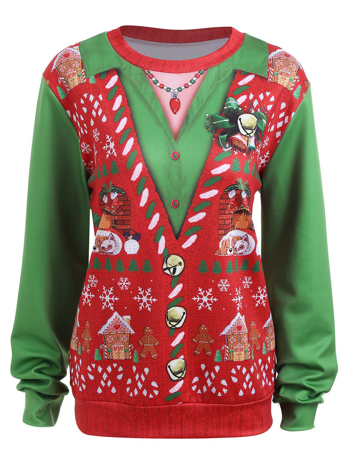 Plus Size Light Up Christmas Snow Ugly SweatshirtWOMEN<br><br>Size: 3XL; Color: RED; Material: Cotton Blend,Polyester; Shirt Length: Regular; Sleeve Length: Full; Style: Fashion; Pattern Style: Print; Season: Fall,Winter; Weight: 0.3600kg; Package Contents: 1 x Sweatshirt;