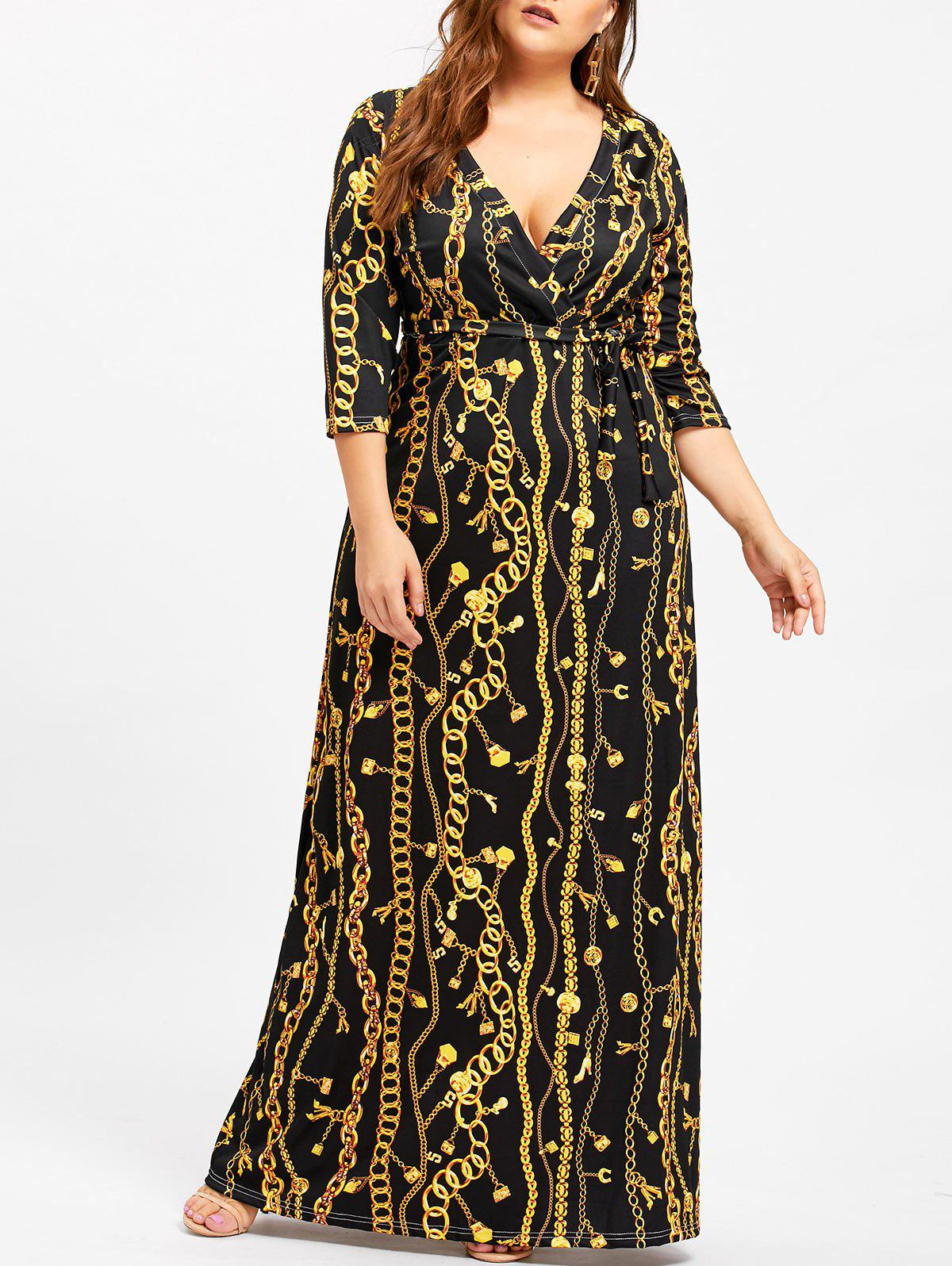 Chain Print Plus Size Low Cut DressWOMEN<br><br>Size: 3XL; Color: BLACK; Style: Casual; Material: Cotton,Polyester; Silhouette: Sheath; Dresses Length: Floor-Length; Neckline: Plunging Neck; Sleeve Length: 3/4 Length Sleeves; Pattern Type: Lock; With Belt: Yes; Season: Fall,Spring; Weight: 0.5300kg; Package Contents: 1 x Dress  1 x Belt;