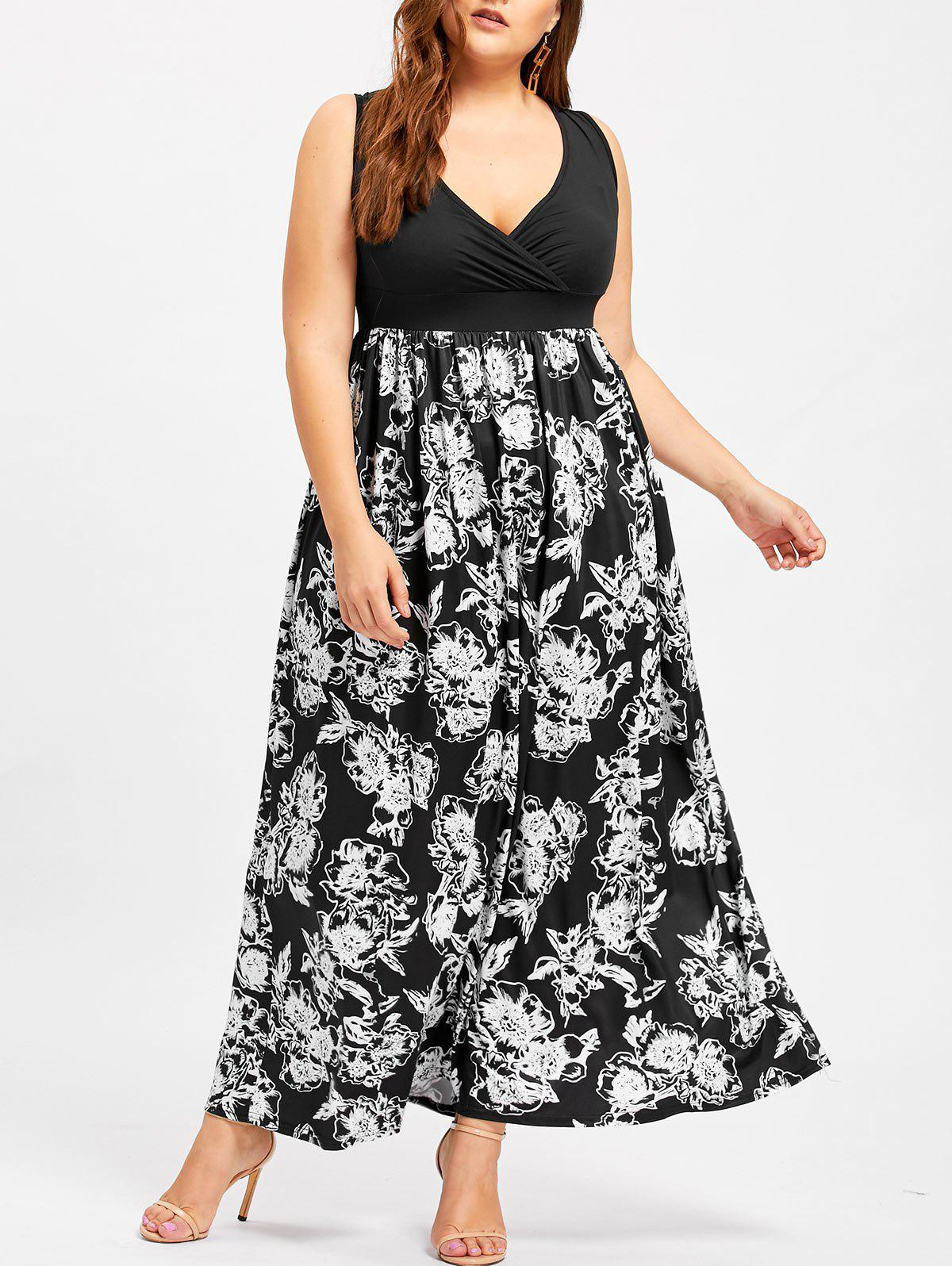 Plus Size Surplice Low Cut Flower DressWOMEN<br><br>Size: 4XL; Color: BLACK; Style: Casual; Material: Cotton,Polyester; Silhouette: A-Line; Dresses Length: Floor-Length; Neckline: Plunging Neck; Sleeve Length: Sleeveless; Waist: Empire; Pattern Type: Figure; With Belt: No; Season: Fall,Spring,Summer; Weight: 0.5050kg; Package Contents: 1 x Dress;