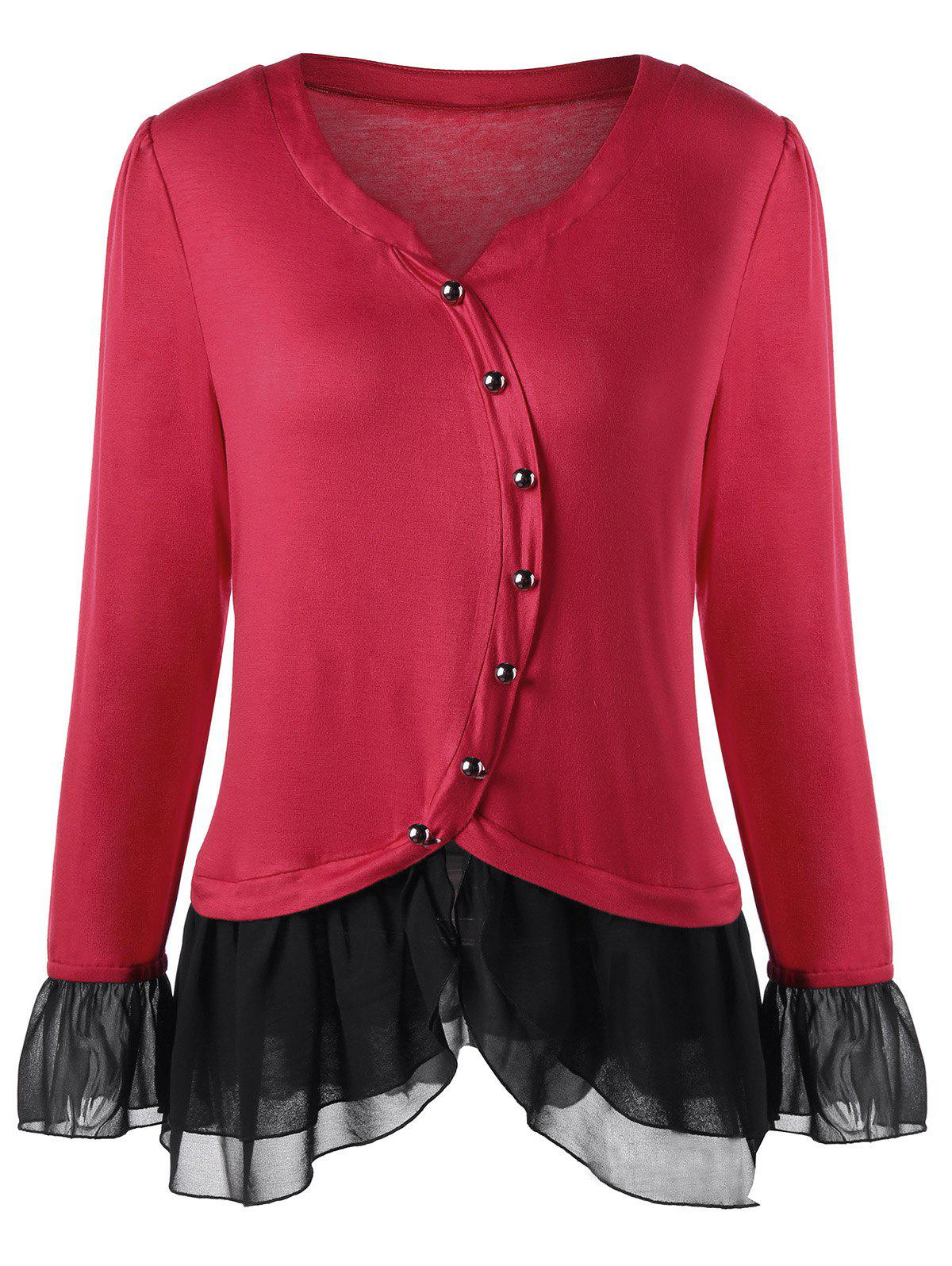 Plus Size Two Tone Button Detail TopWOMEN<br><br>Size: 3XL; Color: RED; Material: Rayon,Spandex; Shirt Length: Long; Sleeve Length: Full; Collar: Round Neck; Style: Fashion; Season: Fall,Spring; Embellishment: Button; Pattern Type: Solid; Weight: 0.3100kg; Package Contents: 1 x Top;