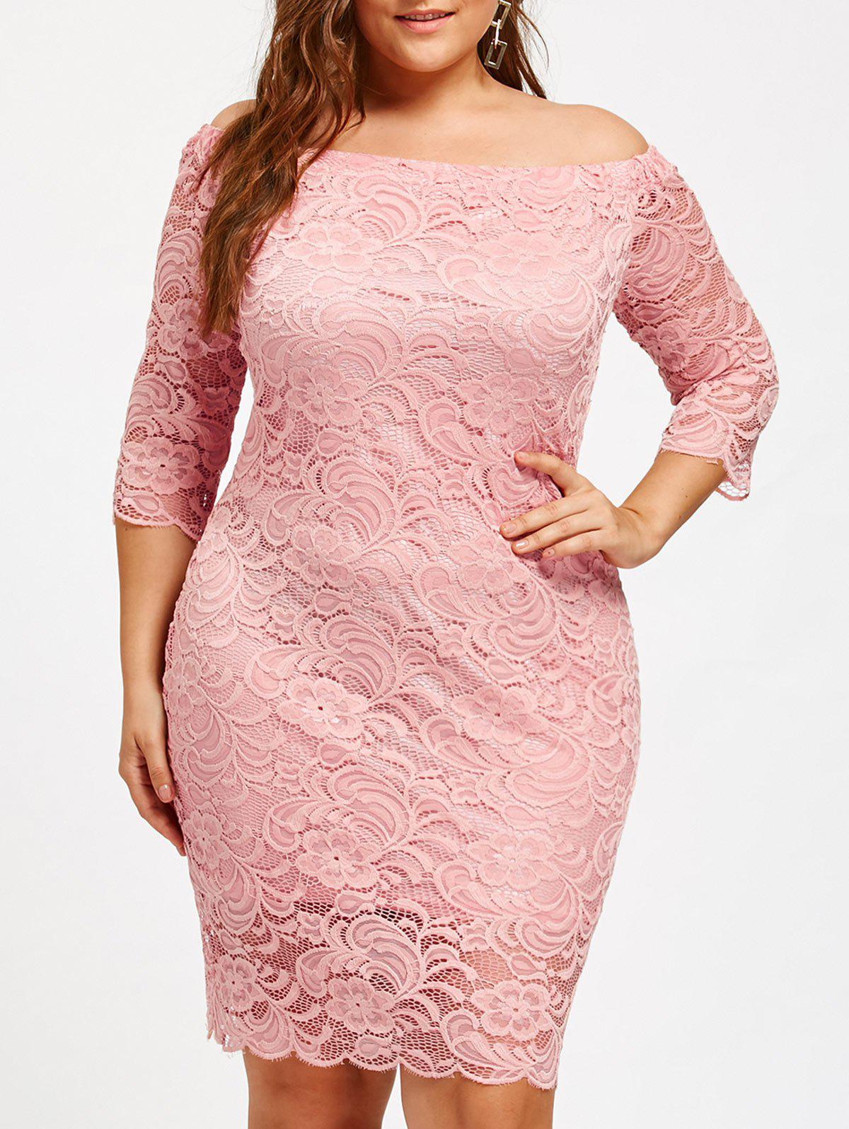 27% OFF] Off The Shoulder Plus Size Lace Dress | Rosegal