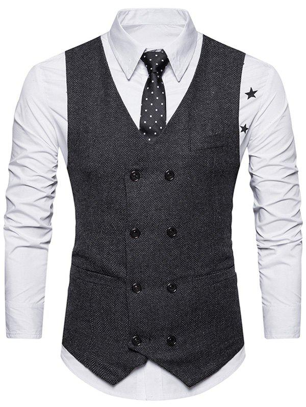Double Breasted Belt Design WaistcoatMEN<br><br>Size: S; Color: BLACK; Material: Cotton,Polyester; Style: Fashion; Shirt Length: Regular; Collar: V-Neck; Thickness: Standard; Closure Type: Double Breasted; Weight: 0.3600kg; Package Contents: 1 x Waistcoat;