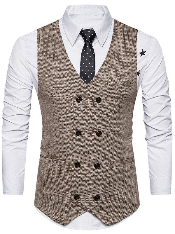 Double Breasted Belt Design WaistcoatMEN<br><br>Size: 2XL; Color: KHAKI; Material: Cotton,Polyester; Style: Fashion; Shirt Length: Regular; Collar: V-Neck; Thickness: Standard; Closure Type: Double Breasted; Weight: 0.3600kg; Package Contents: 1 x Waistcoat;