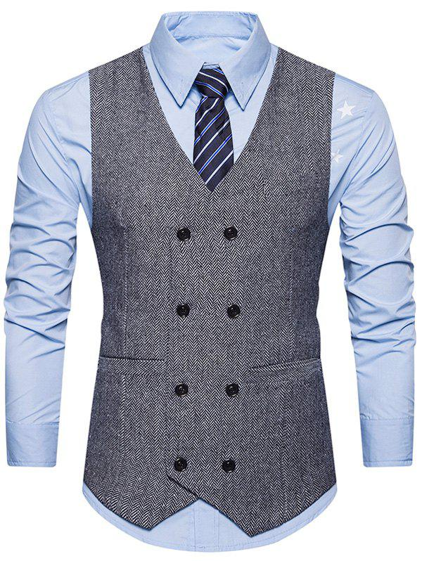 Double Breasted Belt Design WaistcoatMEN<br><br>Size: 2XL; Color: GRAY; Material: Cotton,Polyester; Style: Fashion; Shirt Length: Regular; Collar: V-Neck; Thickness: Standard; Closure Type: Double Breasted; Weight: 0.3600kg; Package Contents: 1 x Waistcoat;