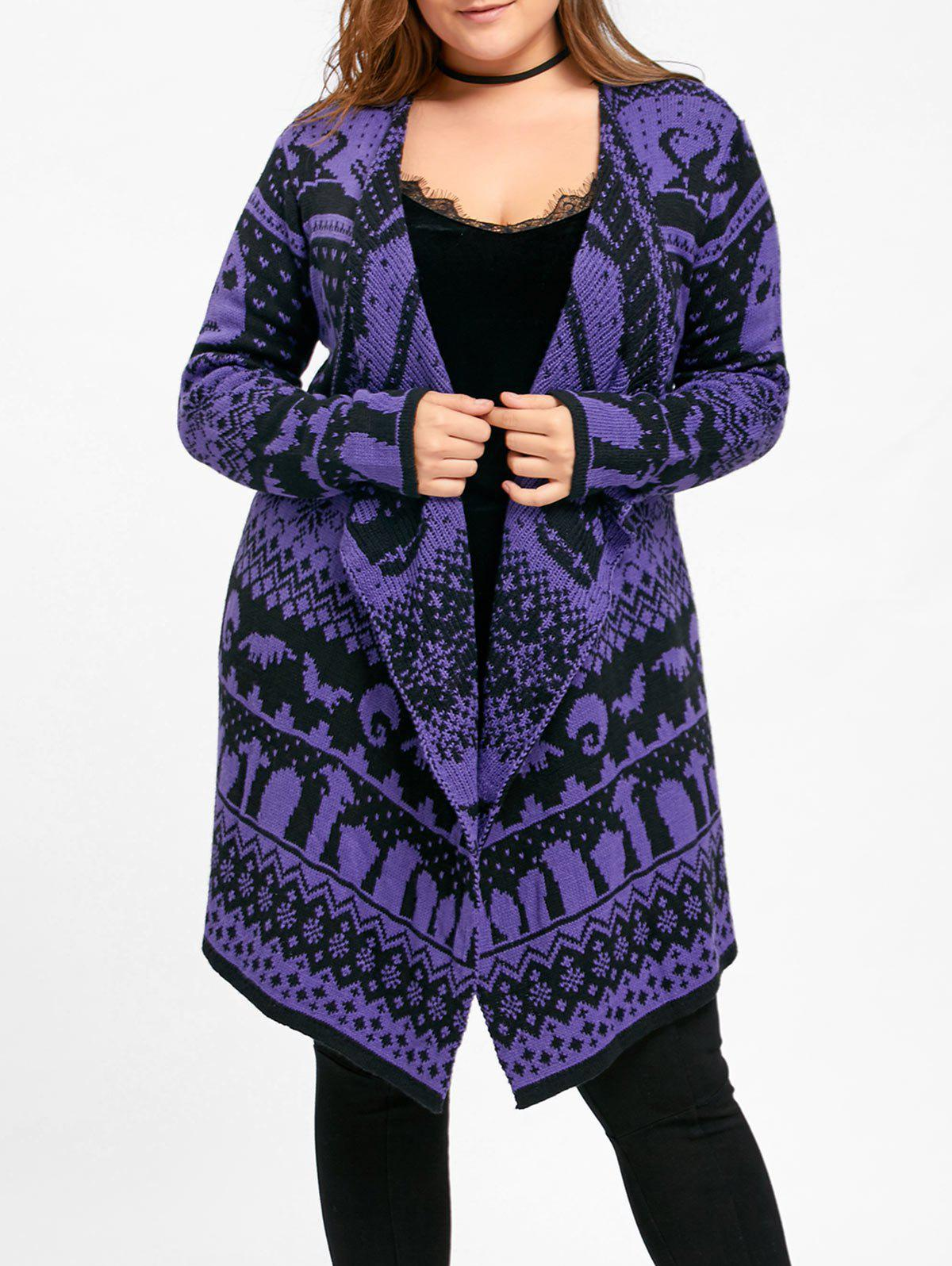 Halloween Plus Size Skull Sweater Drape CardiganWOMEN<br><br>Size: 5XL; Color: PURPLE; Type: Cardigans; Material: Polyester,Spandex; Sleeve Length: Full; Collar: Collarless; Style: Fashion; Season: Fall,Winter; Pattern Type: Others; Weight: 0.4700kg; Package Contents: 1 x Cardigan;