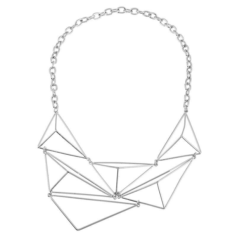 Geometric Triangle Shape Design Chunky NecklaceJEWELRY<br><br>Color: SILVER; Gender: For Women; Style: Trendy; Shape/Pattern: Geometric; Length: 57.5cm; Weight: 0.0300kg; Package Contents: 1 x Necklace;