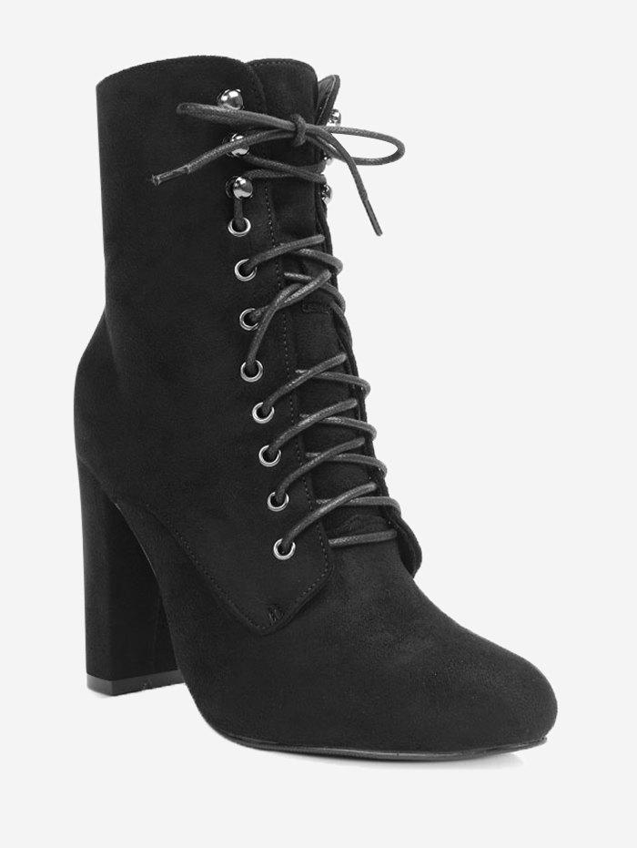 New Lace Up Block Heel Ankle Boots