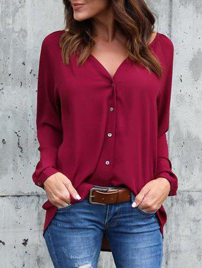 Chiffon V Neck Tunic BlouseWOMEN<br><br>Size: M; Color: WINE RED; Style: Casual; Material: Polyester; Shirt Length: Long; Sleeve Length: Full; Collar: V-Neck; Pattern Type: Solid; Season: Fall,Spring; Weight: 0.2800kg; Package Contents: 1 x Blouse;
