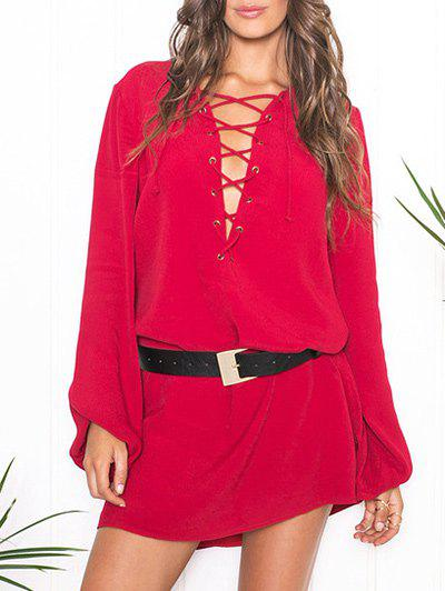 New Plunge Lace-up Long Sleeve Dress