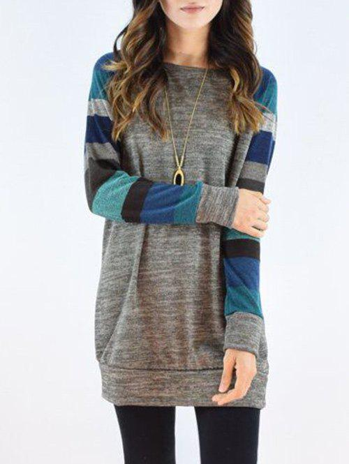 Unique Striped Sleeve Casual Dress