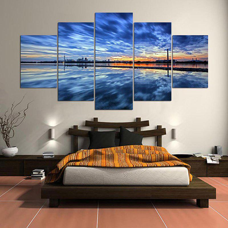 Blue 1pc:8*20,2pcs:8*12,2pcs:8*16 Inch( No Frame ) Evening Landscape ...