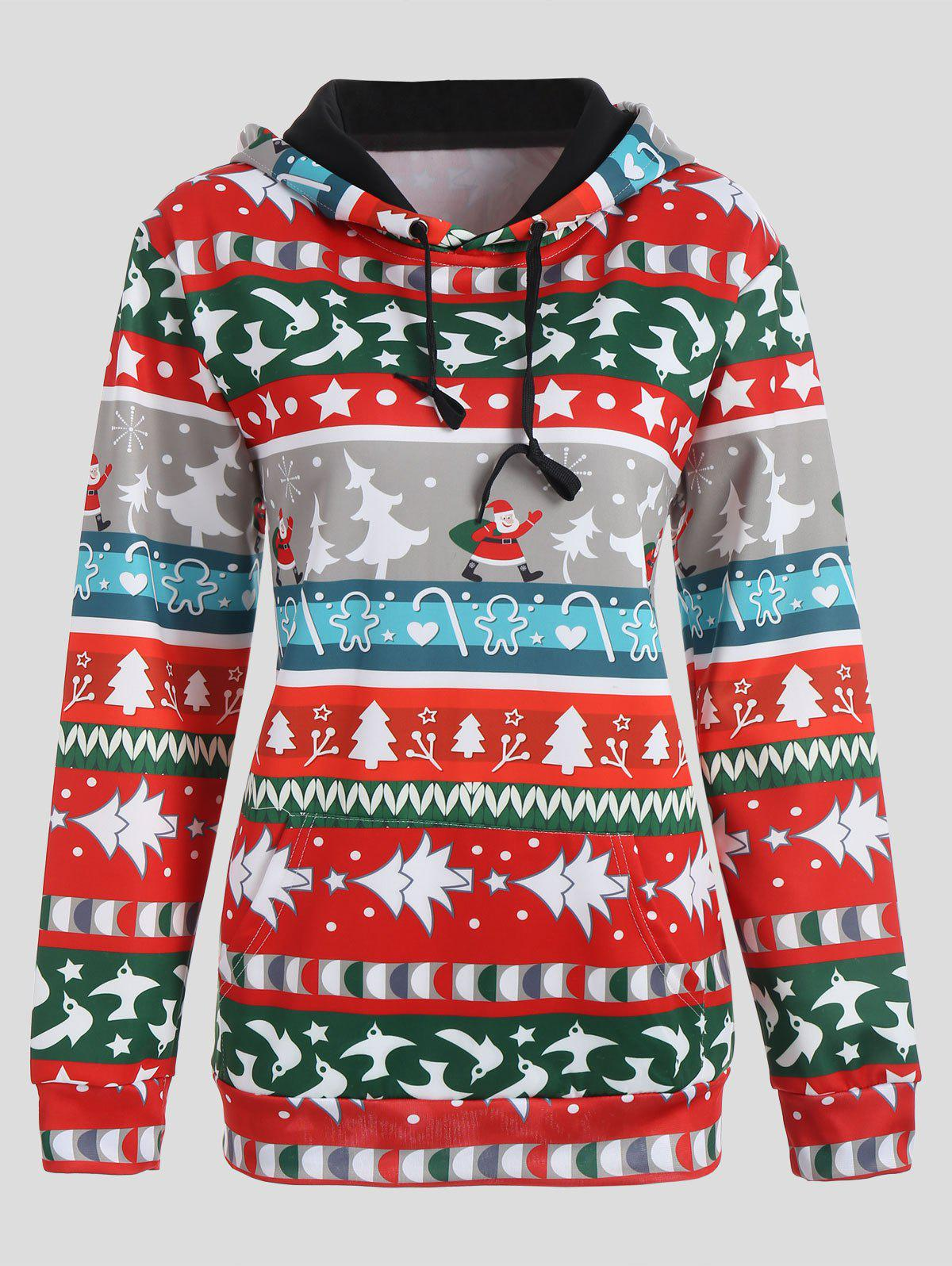 Christmas Tree Santa Claus Snowflake HoodieWOMEN<br><br>Size: M; Color: COLORMIX; Material: Polyester,Spandex; Shirt Length: Regular; Sleeve Length: Full; Style: Novelty; Pattern Style: Others; Season: Fall,Spring; Weight: 0.4200kg; Package Contents: 1 x Hoodie;
