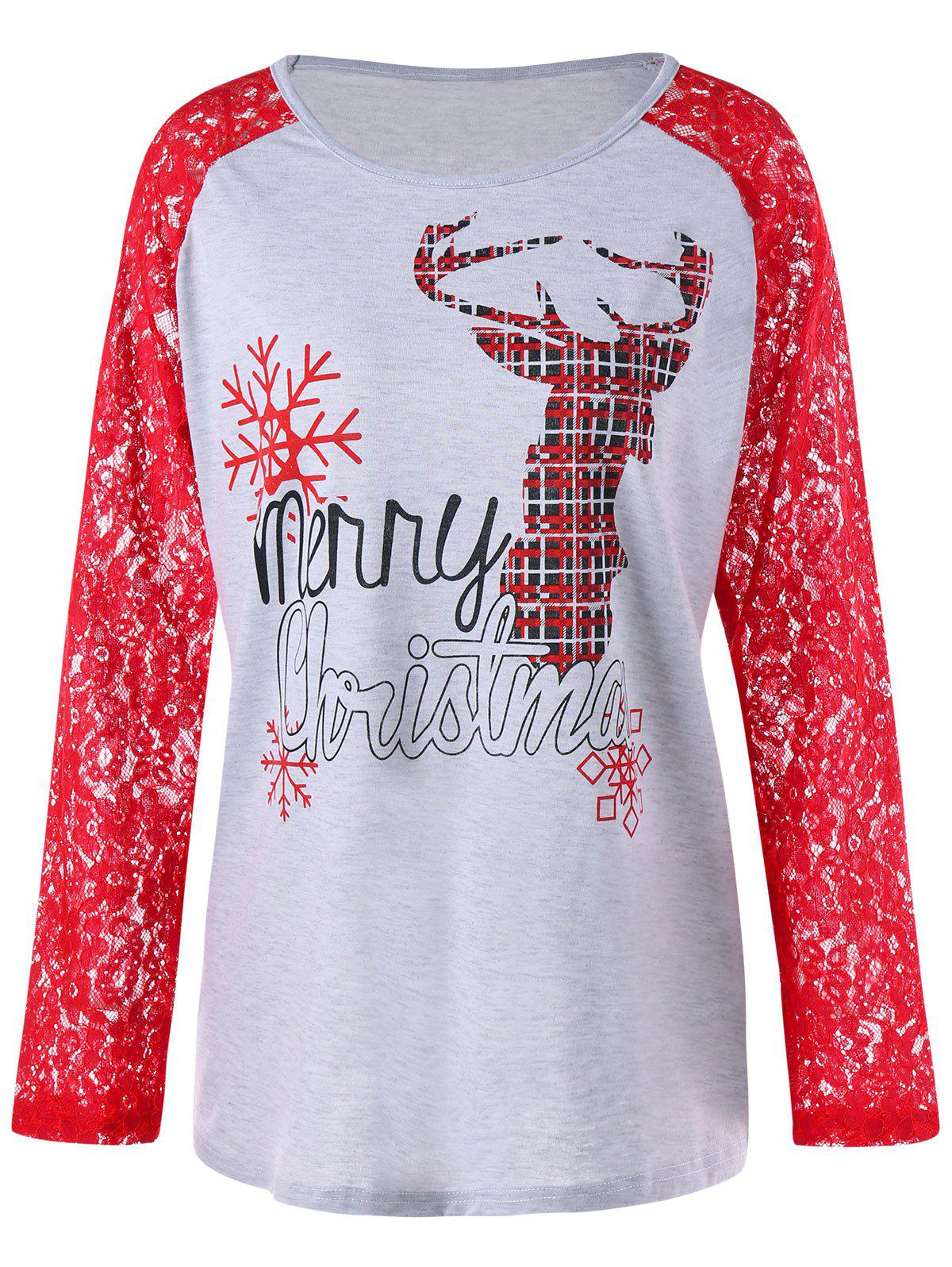 Christmas Plus Size Lace Panel Raglan Sleeve TeeWOMEN<br><br>Size: XL; Color: RED; Material: Polyester,Spandex; Shirt Length: Long; Sleeve Length: Full; Collar: Round Neck; Style: Casual; Season: Fall,Spring; Embellishment: Lace; Pattern Type: Animal; Weight: 0.2500kg; Package Contents: 1 x Top;
