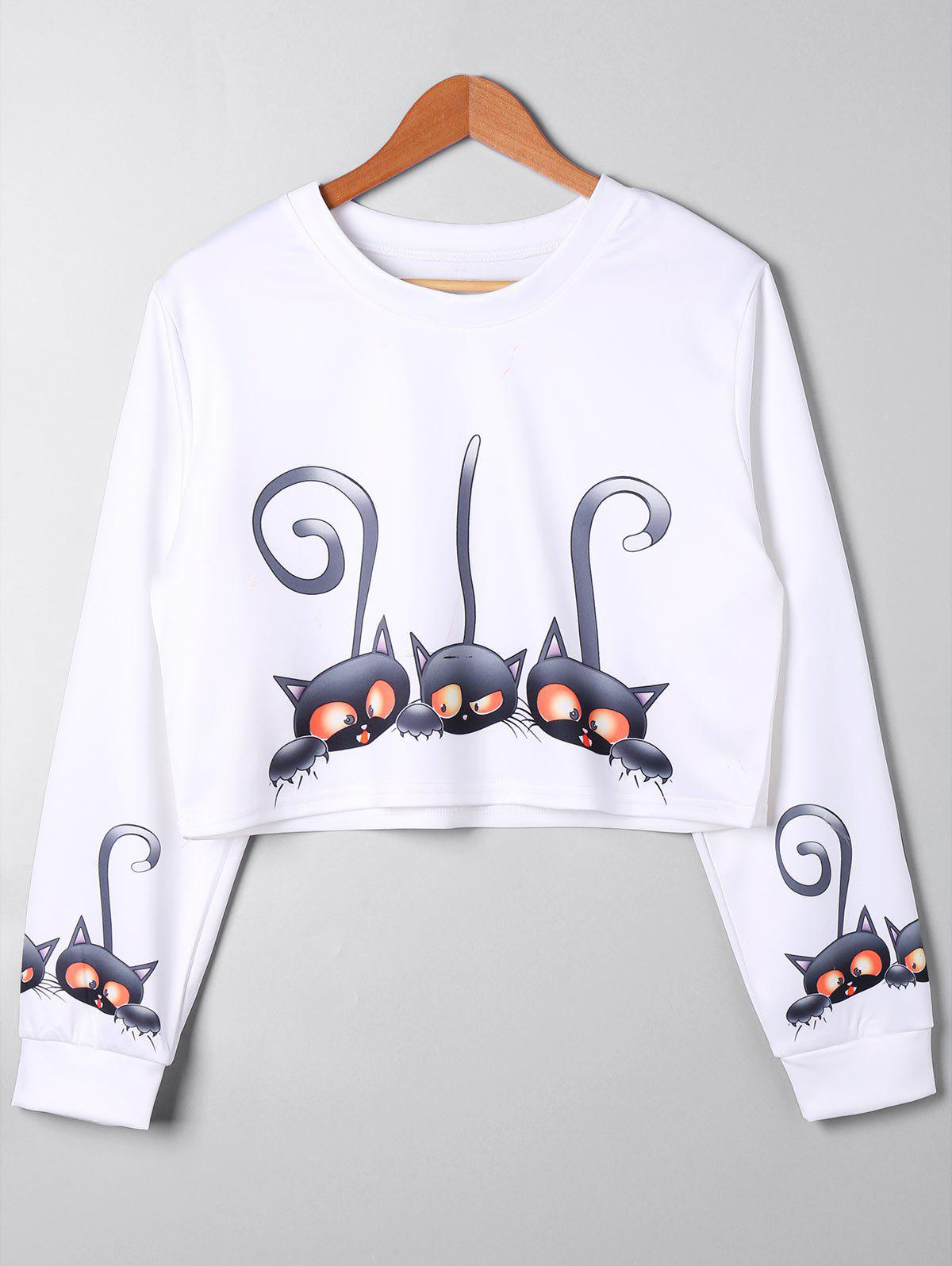 Plus Size Cartoon Cropped SweatshirtWOMEN<br><br>Size: 5XL; Color: WHITE; Material: Polyester,Spandex; Shirt Length: Short; Sleeve Length: Full; Style: Casual; Pattern Style: Animal; Season: Fall,Spring; Weight: 0.3000kg; Package Contents: 1 x Sweatshirt;