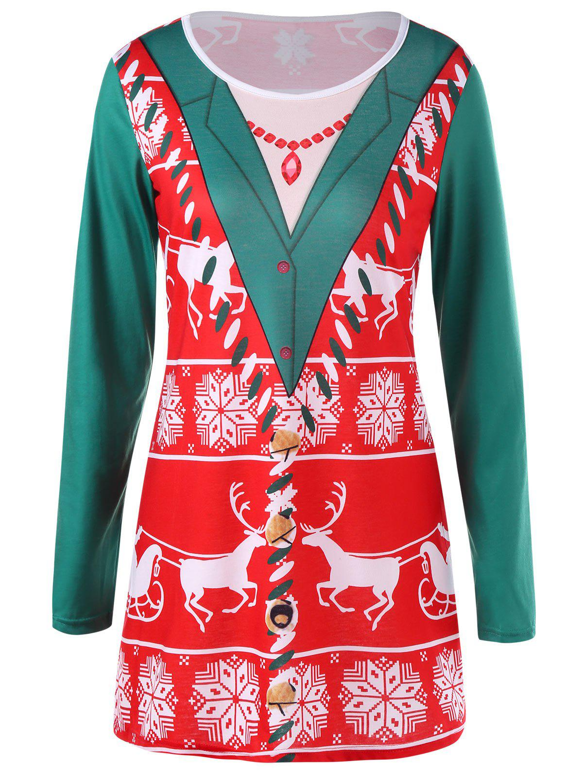 Christmas Reindeer Longline TopWOMEN<br><br>Size: L; Color: RED; Material: Polyester,Spandex; Shirt Length: Long; Sleeve Length: Full; Collar: Round Neck; Style: Casual; Pattern Type: Animal; Season: Fall,Spring; Weight: 0.2600kg; Package Contents: 1 x Top;