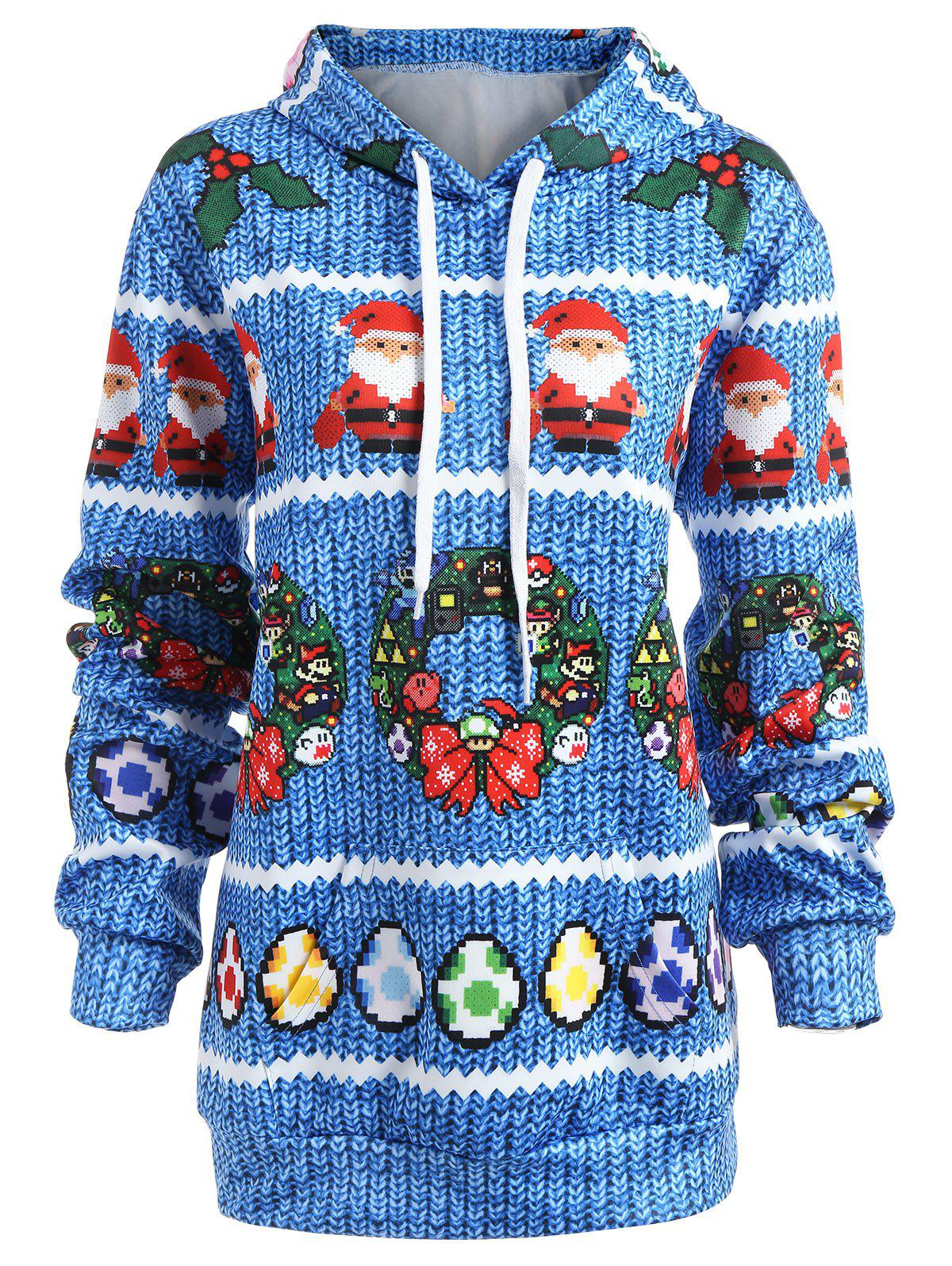 Latest Christmas Berry Bowknot Printed Plus Size Hoodie