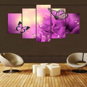 Split Unframed Flowers Butterflies Pattern Paintings -
