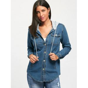 Drawstring Button Up Hooded Jean Jacket -
