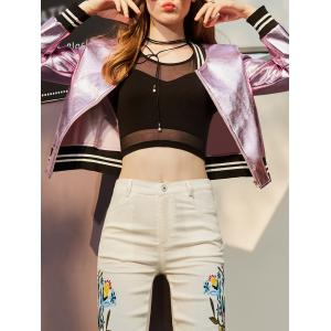 Zip Up Metallic Crop Baseball Jacket -