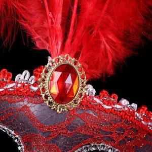 Fake Crystal Embellished Feather Lace Party Mask - RED