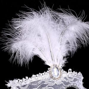 Fake Crystal Embellished Feather Lace Party Mask - WHITE