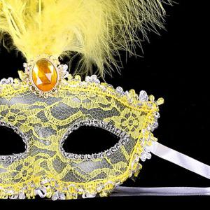 Fake Crystal Embellished Feather Lace Party Mask - YELLOW