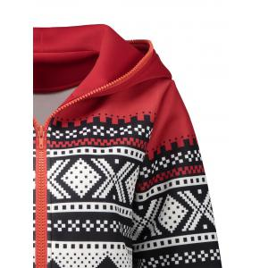 Plus Size Christmas Zipper Hooded Jacket -