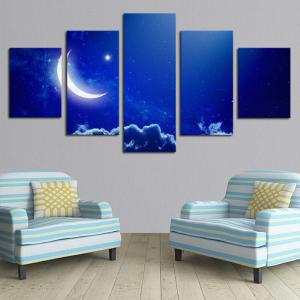 MoonNight Sky Printed Split Canvas Wall Art Paintings -