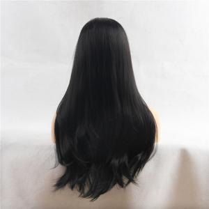 Center Parting Long Natural Straight Heat Resistant Synthetic Wig -