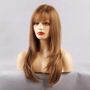Long See-through Fringe Layered Straight Synthetic Wig - LIGHT BROWN 22INCH