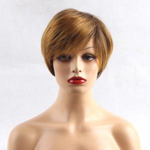 Short Side Bang Colormix Layered Straight Pixie Human Hair Wig -