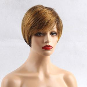 Short Side Bang Colormix Layered Straight Pixie perruque de cheveux humains - Multicolore